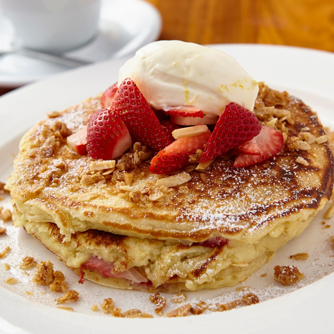 Strawberry Pancakes from brunch menu at Moderne Barn